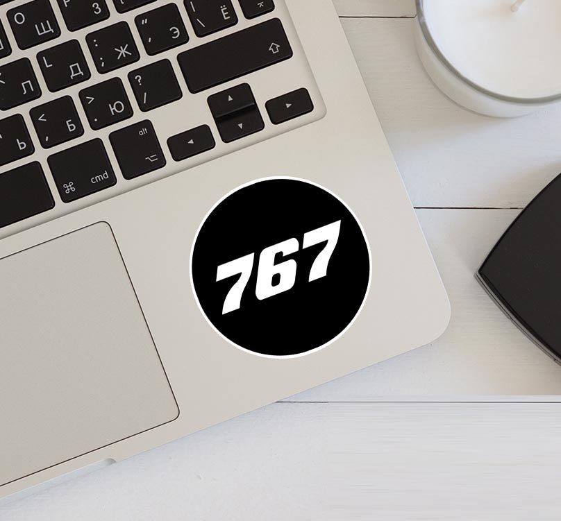 767 Flat Text Black Designed Stickers