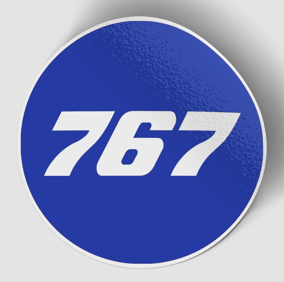 767 Flat Text Blue Designed Stickers