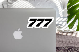 777 Flat Text Designed Stickers