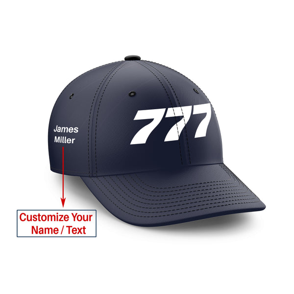 Customizable Name & 777 Flat Text Embroidered Hats