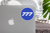 777 Flat Text Blue Designed Stickers