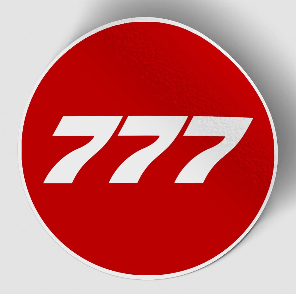 777 Flat Text Red Designed Stickers