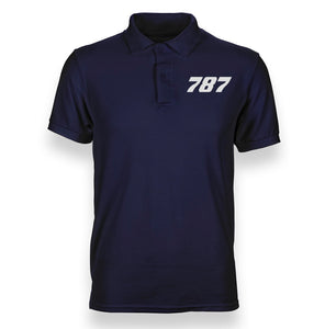 Boeing 787 Flat Text Designed Polo T-Shirts