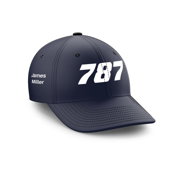 Customizable Name & 787 Flat Text Embroidered Hats