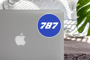 787 Flat Text Blue Designed Stickers