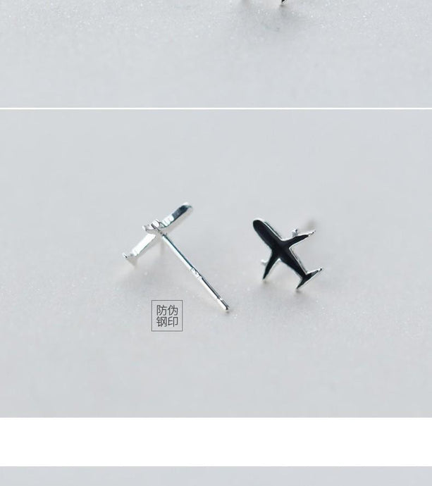 925 Sterling Silver Aircraft Shaped Earrings