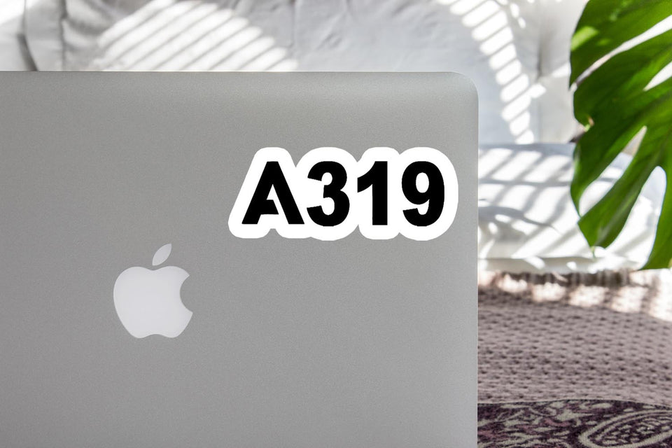 A319 Flat Text Designed Stickers