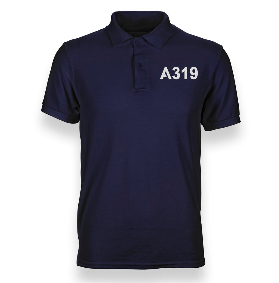 A319 Flat Text Designed Polo T-Shirts