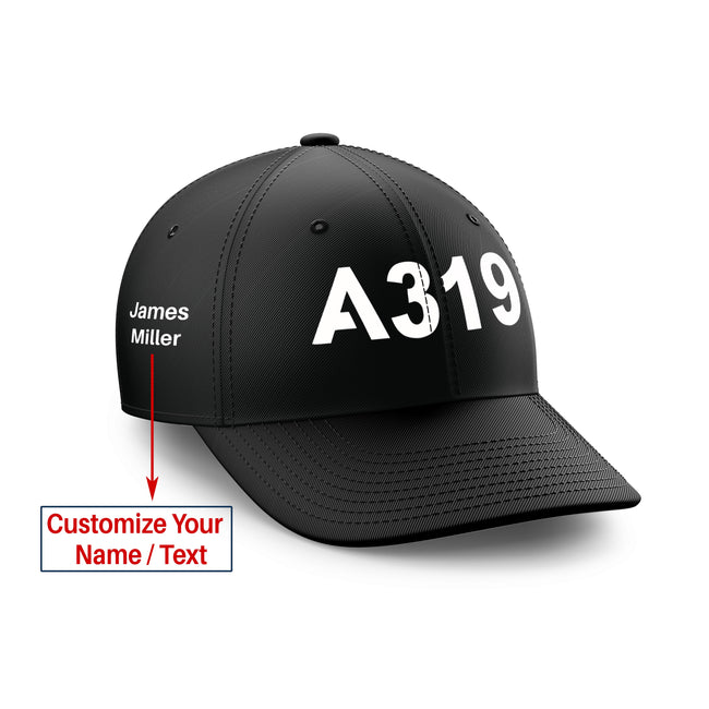 Customizable Name & A319 Flat Text Embroidered Hats