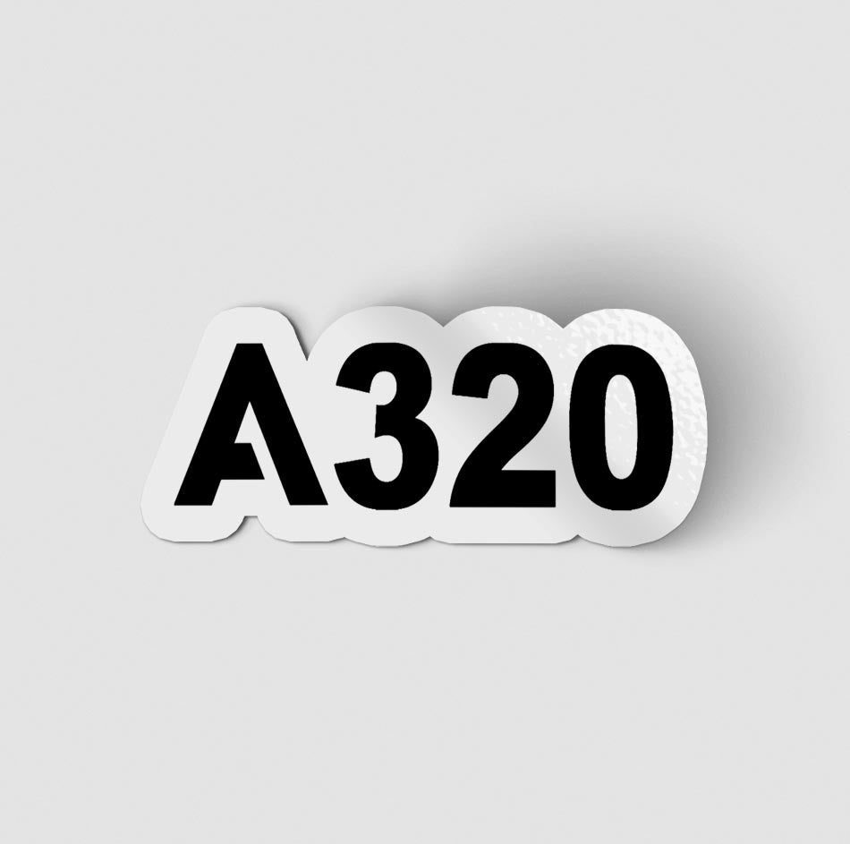 A320 Flat Text Designed Stickers