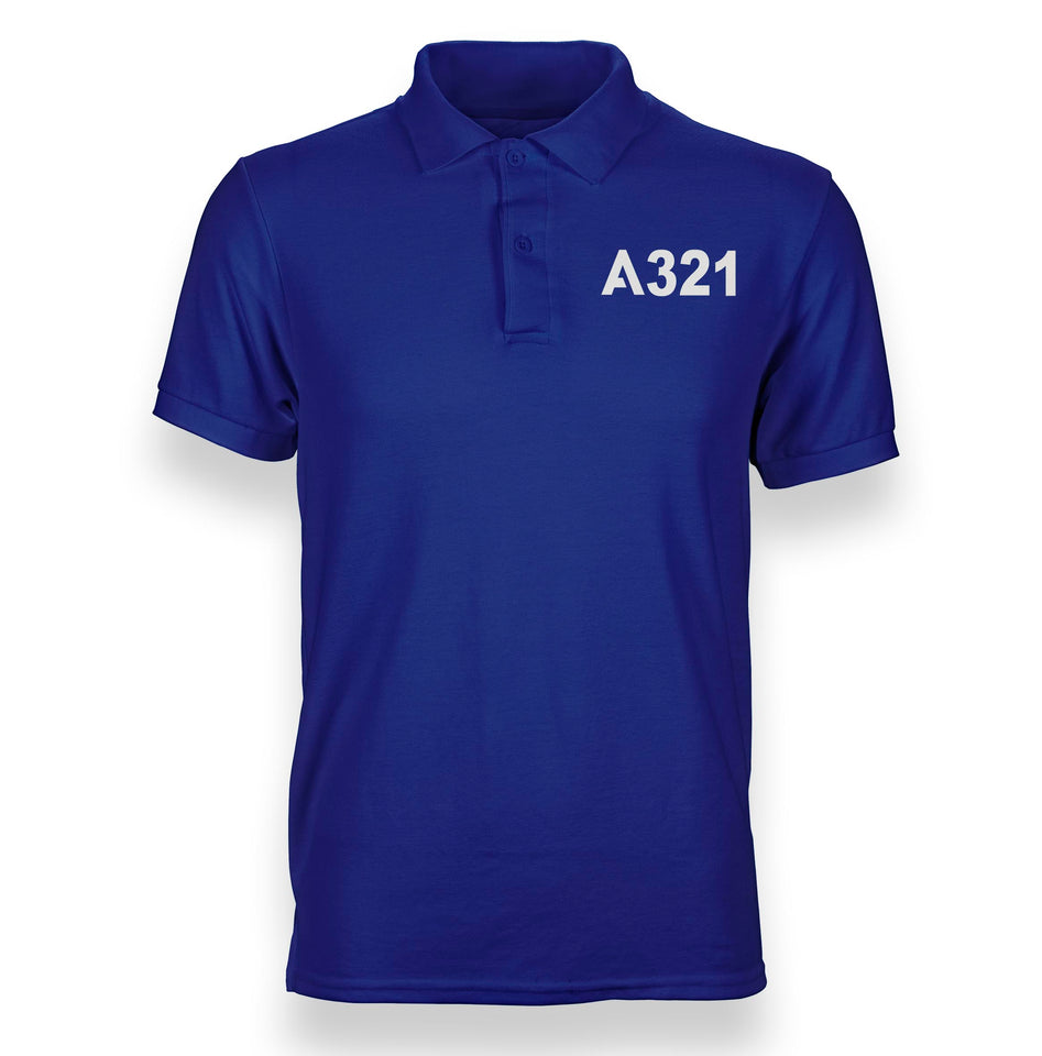 A321 Flat Text Designed Polo T-Shirts