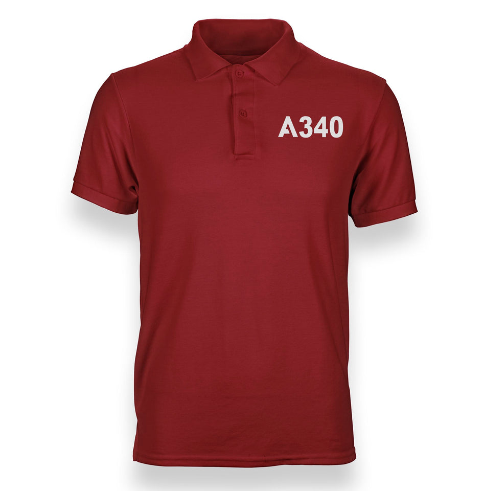 A340 Flat Text Designed Polo T-Shirts