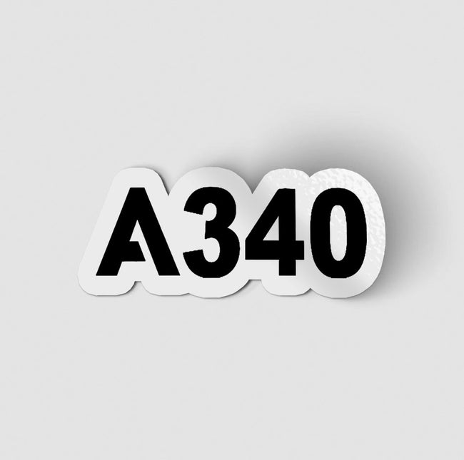 A340 Flat Text Designed Stickers