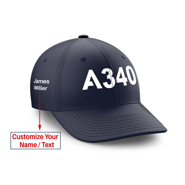Customizable Name & A340 Flat Text Embroidered Hats