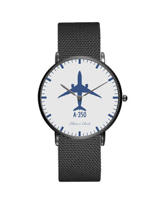 Airbus A350 Stainless Steel Strap Watches Pilot Eyes Store Black & Stainless Steel Strap