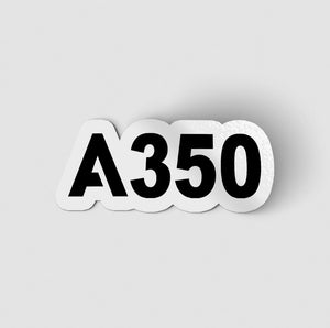A350 Flat Text Designed Stickers