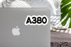 A380 Flat Text Designed Stickers