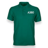 A380 Flat Text Designed Polo T-Shirts