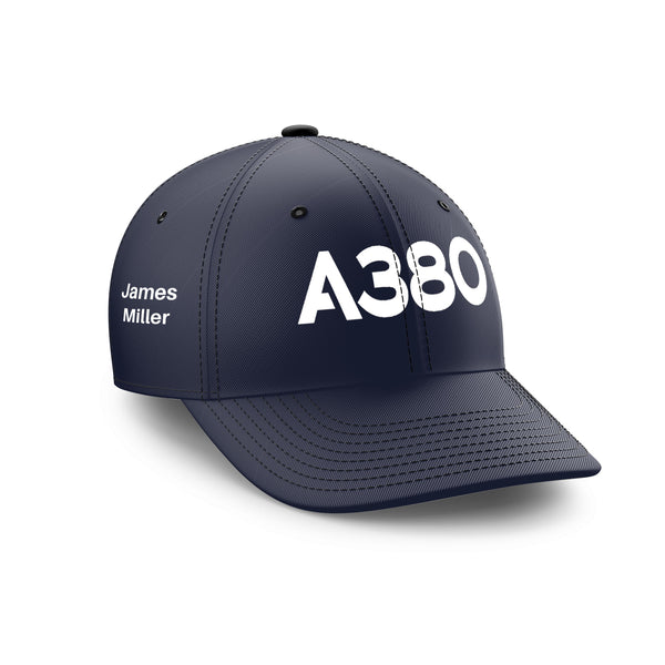Customizable Name & A380 Flat Text Embroidered Hats