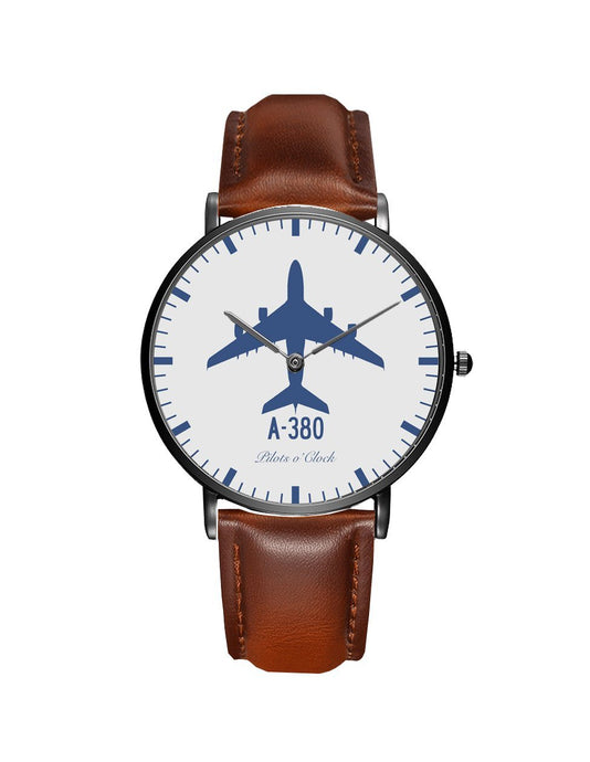 Airbus A380 Leather Strap Watches Pilot Eyes Store Black & Brown Leather Strap