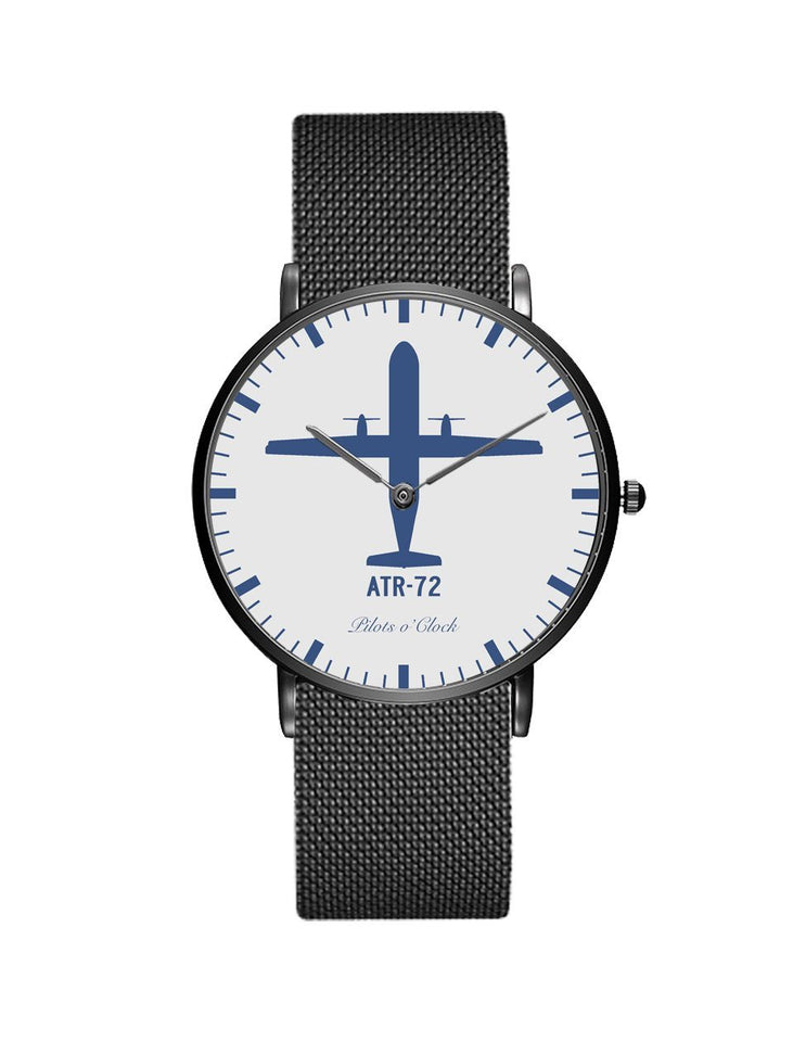 ATR-72 Stainless Steel Strap Watches Pilot Eyes Store Black & Stainless Steel Strap