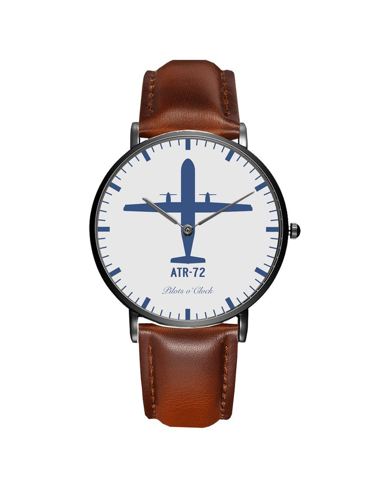 ATR-72 Leather Strap Watches Pilot Eyes Store Black & Brown Leather Strap
