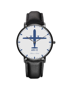 ATR-72 Leather Strap Watches Pilot Eyes Store Black & Black Leather Strap