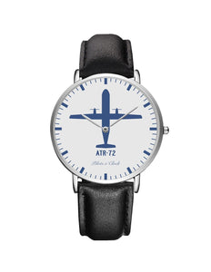 ATR-72 Leather Strap Watches Pilot Eyes Store Silver & Black Leather Strap