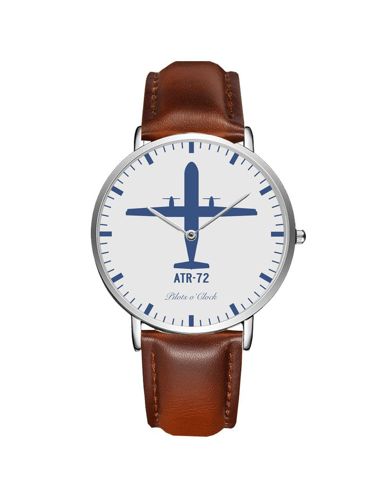 ATR-72 Leather Strap Watches Pilot Eyes Store Silver & Brown Leather Strap