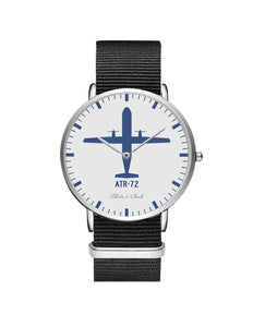 ATR-72 Leather Strap Watches Pilot Eyes Store Silver & Black Nylon Strap