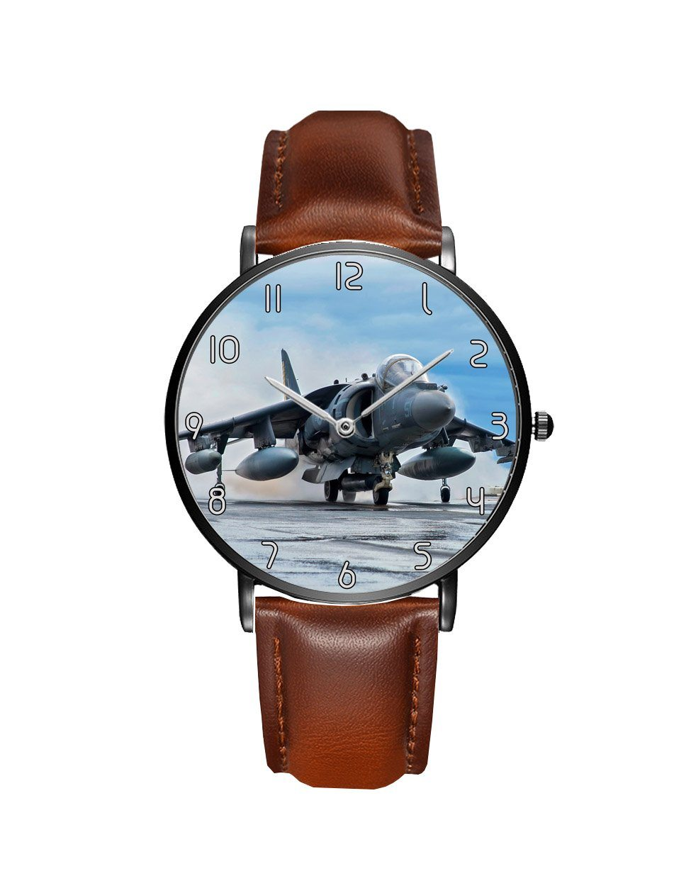 McDonnell Douglas AV-8B Harrier II Leather Strap Watches Aviation Shop Black & Brown Leather Strap