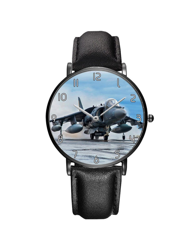 McDonnell Douglas AV-8B Harrier II Leather Strap Watches Aviation Shop Black & Black Leather Strap