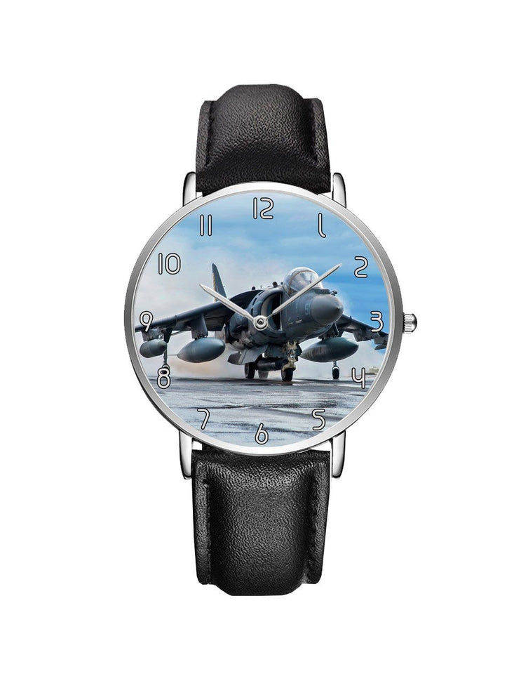 McDonnell Douglas AV-8B Harrier II Leather Strap Watches Aviation Shop Silver & Black Leather Strap