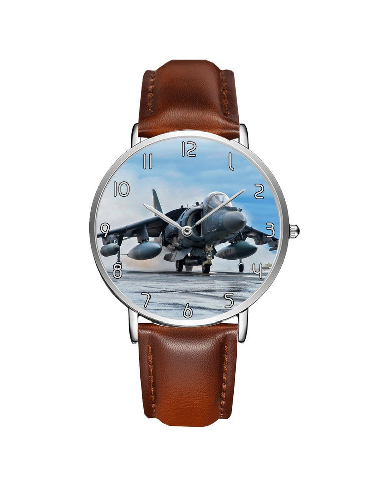 McDonnell Douglas AV-8B Harrier II Leather Strap Watches Aviation Shop Silver & Brown Leather Strap