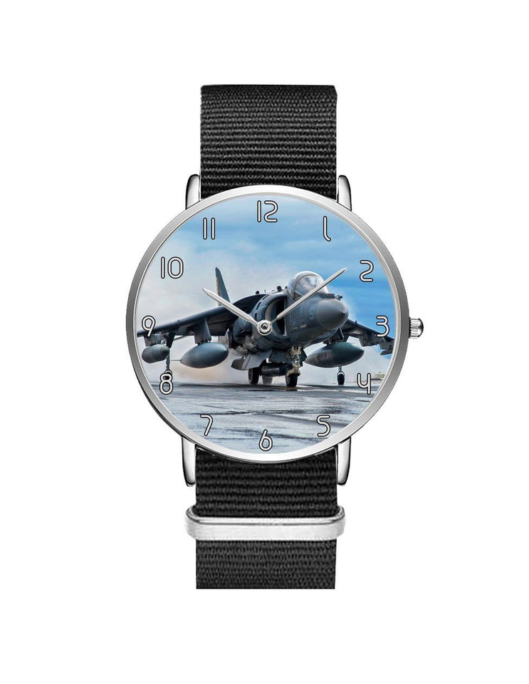 McDonnell Douglas AV-8B Harrier II Leather Strap Watches Aviation Shop Silver & Black Nylon Strap