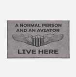 A Normal Person and an AVIATOR Live Here Designed Door Mats Aviation Shop