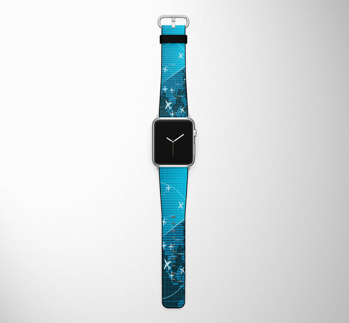 Air Traffic Control Screen Designed Leather Apple Watch Straps