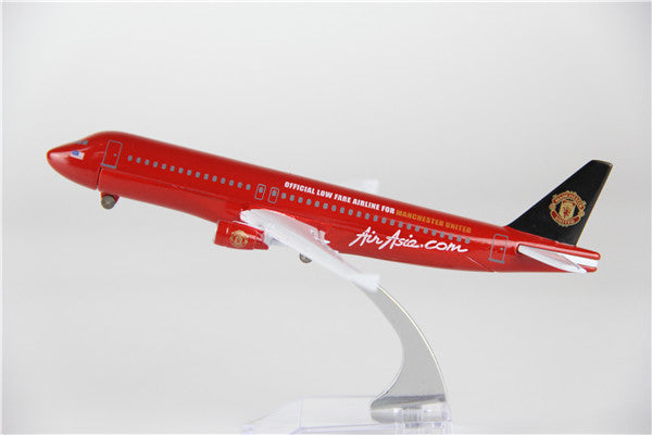 Air Asia Airbus A320 (Manchester United Livery) Airplane Model (16CM)
