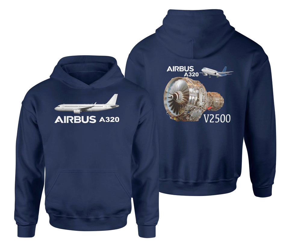 Airbus A320 & V2500 Engine Designed Double Side Hoodies