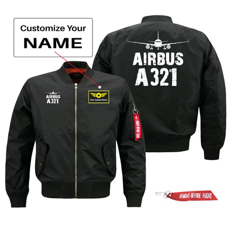 Airbus A321 Silhouette & Designed Pilot Jackets (Customizable)