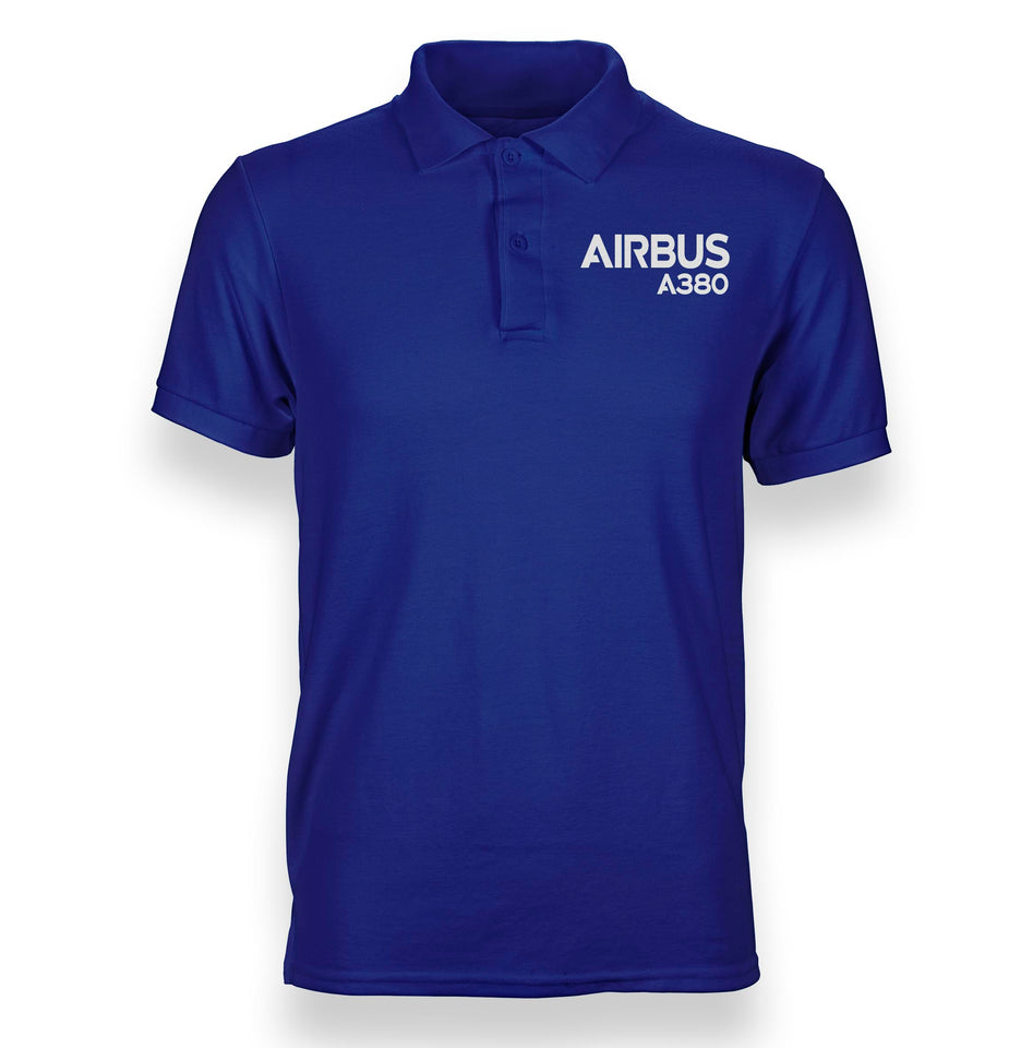 Airbus A380 & Text Designed Polo T-Shirts