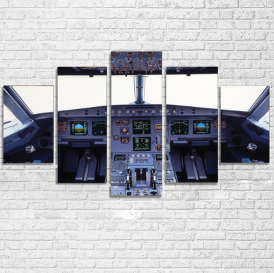 Airbus A320 Cockpit Wide Printed Multiple Canvas Poster