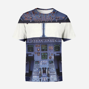 Airbus A320 Cockpit Wide Printed T-Shirts
