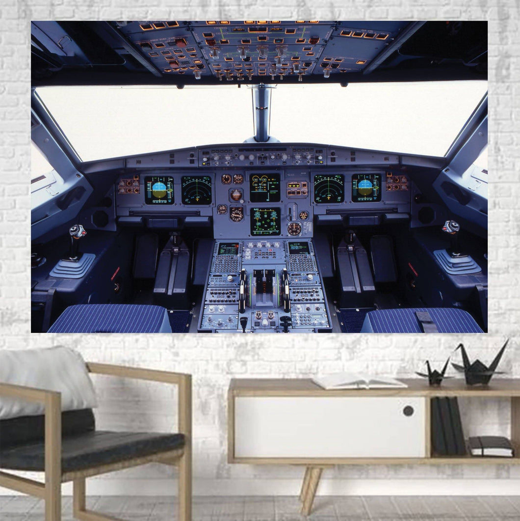 Airbus A320 Cockpit Wide Printed Canvas Posters (1 Piece) Aviation Shop