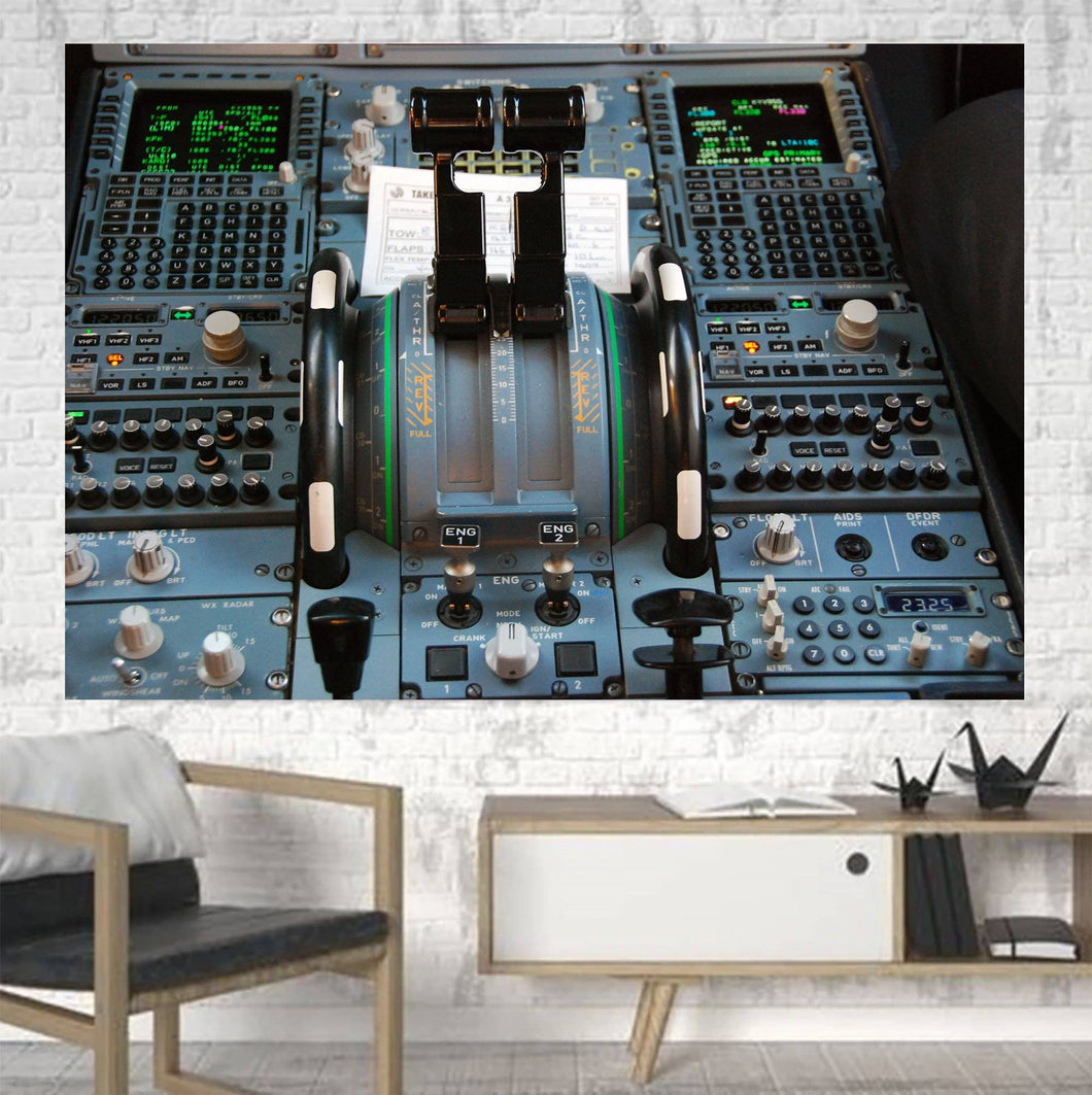 Airbus A320 Cockpit Printed Canvas Posters (1 Piece) Aviation Shop