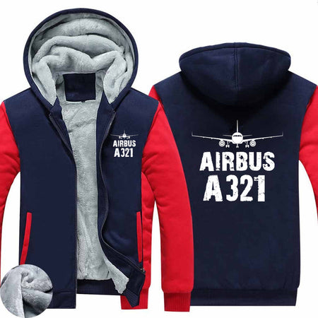 Airbus A321 & Plane Designed Zipped Sweatshirts