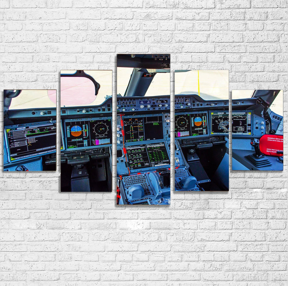Airbus A350 Cockpit Printed Multiple Canvas Poster Aviation Shop
