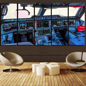 Airbus A350 Cockpit Printed Canvas Prints (5 Pieces) Aviation Shop