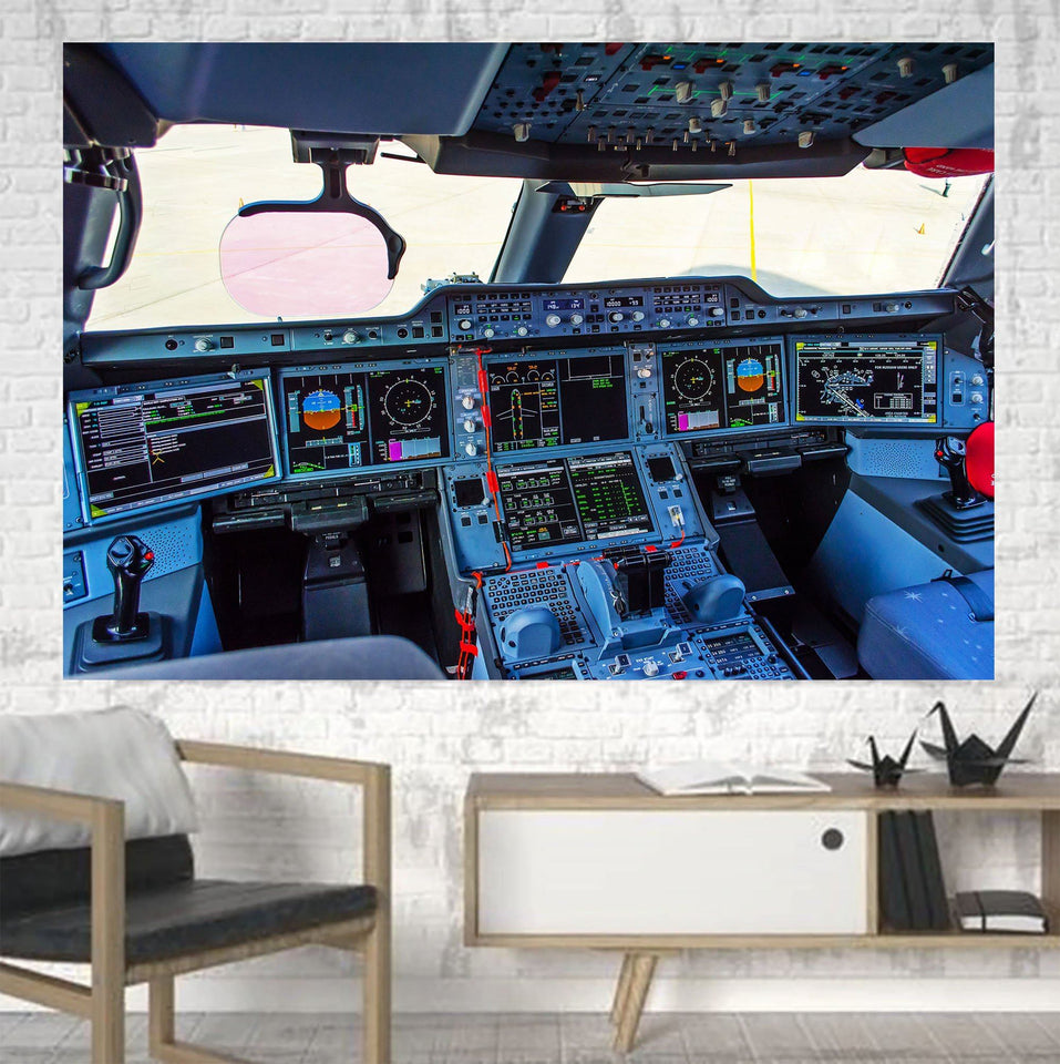 Airbus A350 Cockpit Printed Canvas Posters (1 Piece) Aviation Shop