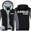 Airbus A380 Text Designed Zipped Sweatshirts